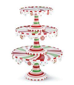 holiday swirl stacking cake plates (set of 3)