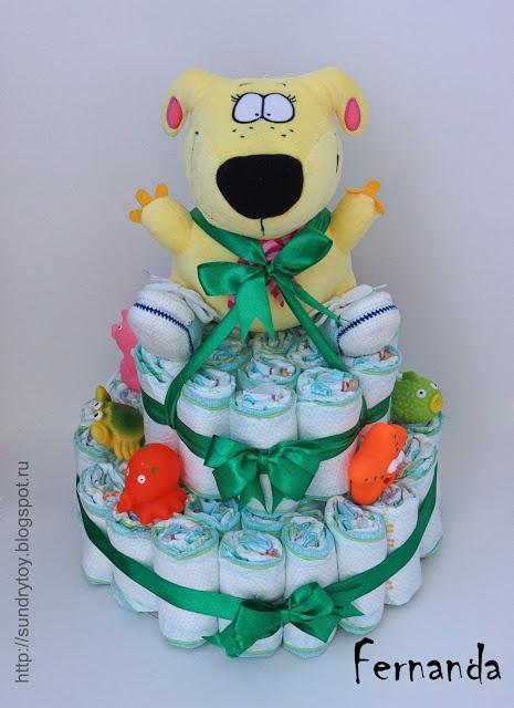 Diaper Cake - Baby shower ideas Подарок для новорожденного - торт из подгузников