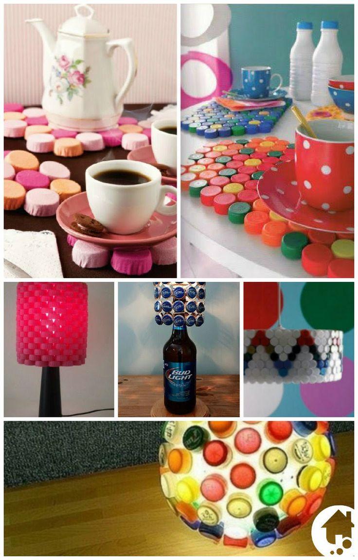 Idéias ótimas para aproveitar as tampinhas de garrafas….criem e recriem!!!! A natureza agradece. #decoração #recriem #inventem