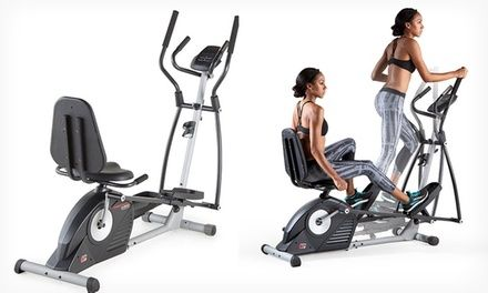 Home trainer combines an elliptical with an exercise bike, giving users access to a range of low-impact cardio workouts on a single machine
