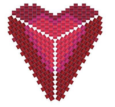 """Схема """"Сердце"""" - сердечко из бисера - мозаика / ндебеле"""