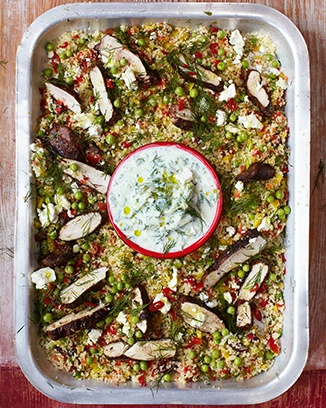 Jamie Oliver's gorgeous greek chicken, herby vegetable couscous & tzatziki