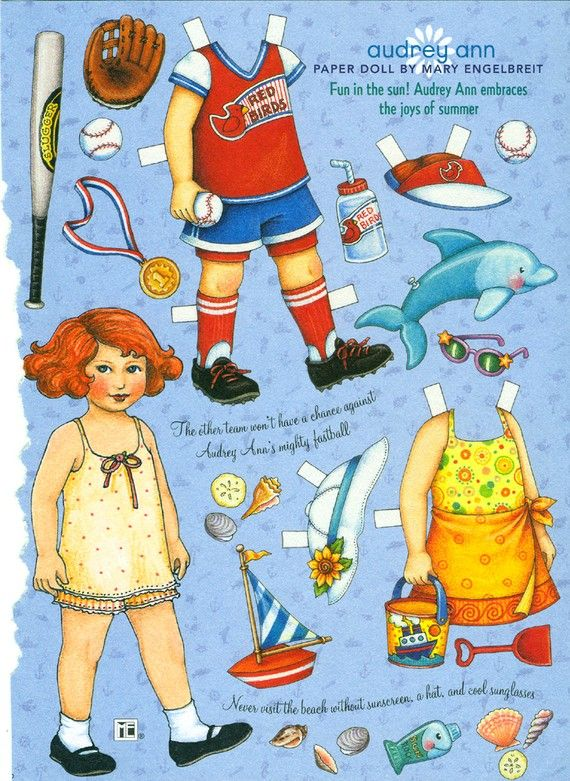 Uncut Paper Doll by Mary Engelbreit Audrey Plays Baseball RESERVED