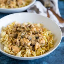 Delicious comfort food lightened up with chicken! Chicken and Mushrooms Stroganoff has all the classic flavors and is on the table in under 30 minutes.