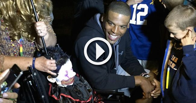 Cam Newton made Elijah Hughes' special Halloween one his family will never forget.