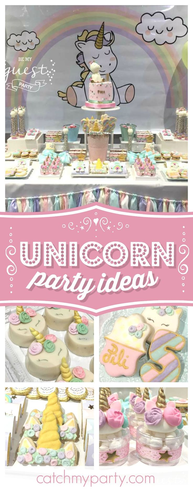Take a look at this magical Unicorn birthday party! The sugar coated cookies are so pretty!! See more party ideas and share yours at CatchMyParty.com #unicorn #partyideas