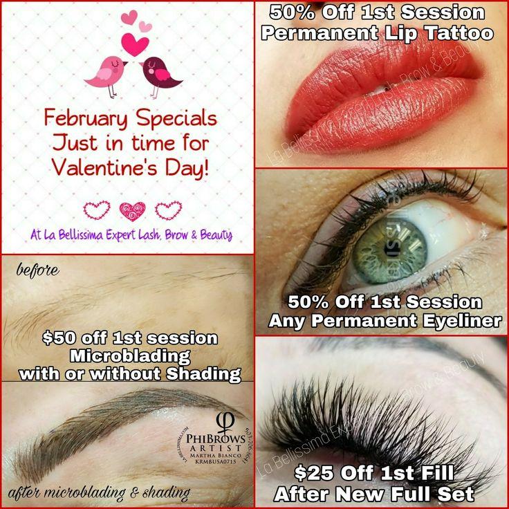 February specials in all service areas: permanent eyeliner & lips, microblading, eyelashes. Especiales de febrero: tatuaje de labios y delineador de ojos permanente, microblading de cejas, pestañas.