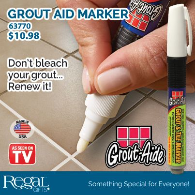 "GROUT AID MARKER The safe, easy way to maintain beautiful tile areas by covering up stubborn stained grout! The marker dries rapidly and leaves a clean, uniform grout line without harsh chemicals - completely odourless & no fumes! 6""L 1/4 fl oz."