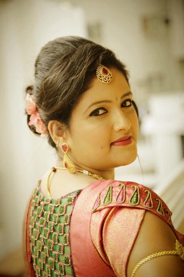 Indian bride's bridal reception hairstyle by Swank Studio. #Saree #Blouse #Design #MaangTikka  Find us at https://www.facebook.com/SwankStudioBangalore