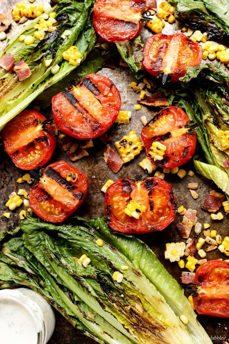 Grilled Romaine and Tomato Salad with Bacon and Homemade Buttermilk Ranch Dressing from @farmgirlsdabble