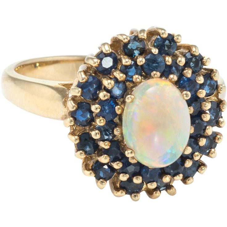 Opal Sapphire Princess Cocktail Ring Vintage 10 Karat Yellow Gold Estate Fine Jewelry -- found at www.rubylane.com #vintagebeginshere #mondayblues