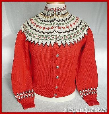 Classic Norwegian Fair Isle Wool Cardigan Sweater Vibrant Red Never Worn | eBay