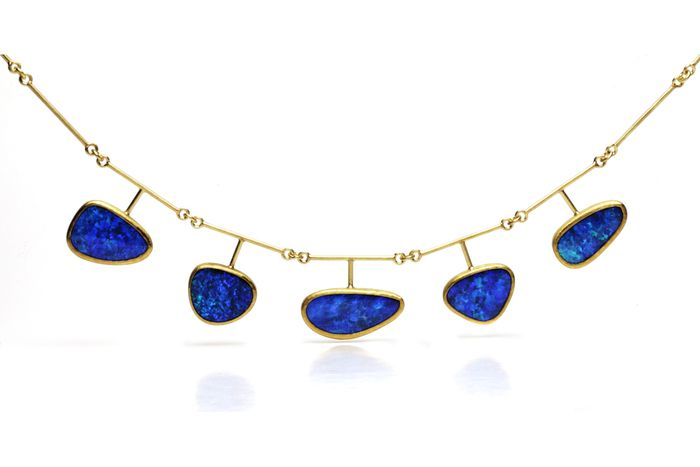 Boulder Opal and gold necklace by Petra Class