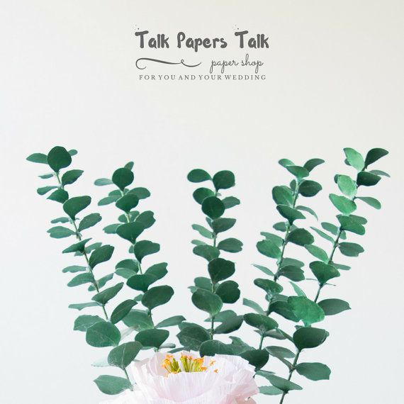 5 12 length eucalyptus stems  Paper foligage  by TalkPapersTalk