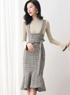 0869a17fc8 Solid Color Knitted TOP & Strap Mermaid Sheath Skirt in 2019 | Two-piece  Outfits | Skirts, Two piece outfit, Outfits