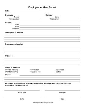 Make sure that all accidents and policy violations are properly recorded with this printable employee incident report. Free to download and print