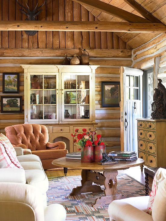 rustic decorating mountain livinglog cabin - Cabin Living Room Decor