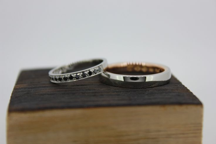 Wedding bands. Platinum and rose gold. Black diamonds. Designed and hand-made in Melbourne.  #roseandcrownjewellers #diamonds #weddingband