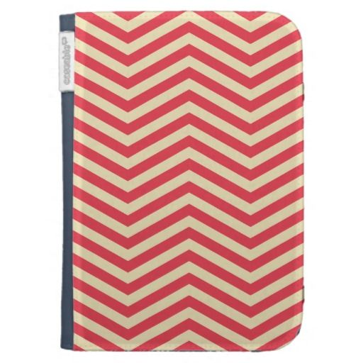 Red/Cream Chevron Pattern Kindle Folio Case - One of the most chic, glamorous patterns for your devices. An elegant evergreen classic color combination that will simply live forever. Immune to time-changing trends, winning choice for her and also for him. Now available on my shop.