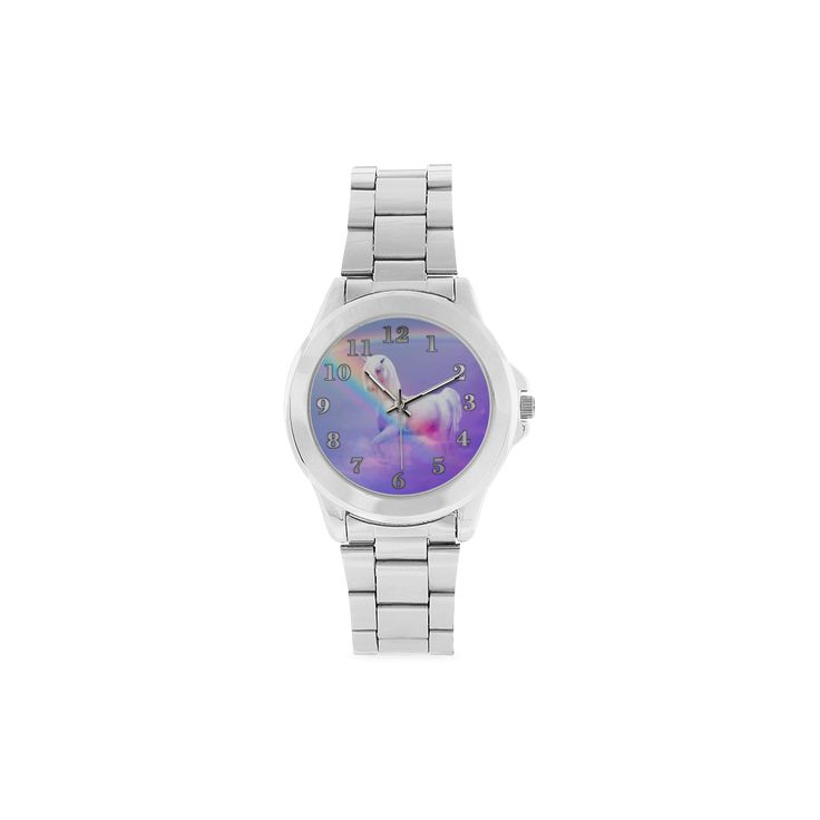Unicorn and Rainbow Unisex Stainless Steel Watch(Model 103)