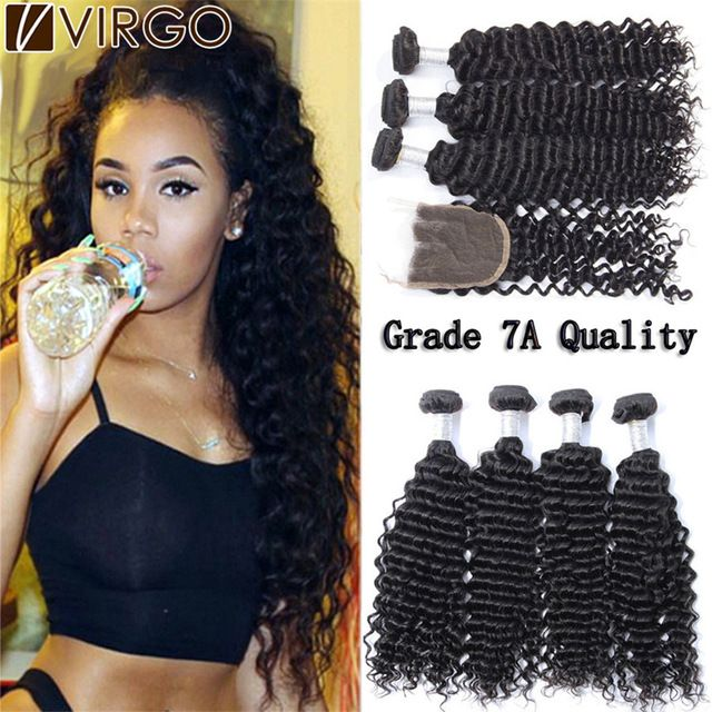 7A Mink Brazilian Curly Virgin Hair With Closure Virgin Brazilian Deep Wave Hair With Closure 3/4 Bundles With Closure Rosa Hair