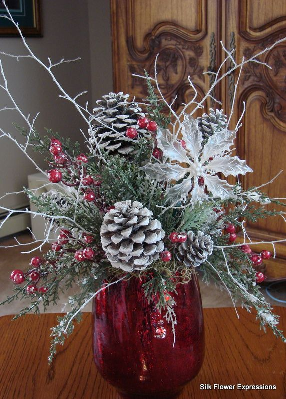 10 best christmas silk flower arrangements images on pinterest red vase with frosted pine cones silk flowers mightylinksfo