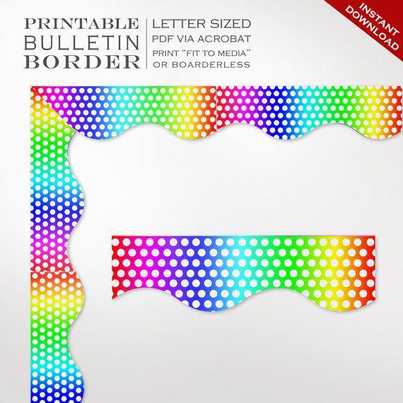 Classroom Bulletin Board Trim Printable Rainbow by GeeklingBooks