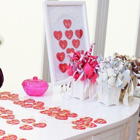 中央にはエスコートカード、リボンワンズの後ろにはテーブルナンバーボードを。 招待状にゲストカードを入れて送り受け付けでエスコートカードと交換。芳名帳は面倒くさいのでこの形式にしました! エスコートカードの表には名前、裏にはテーブルナンバーをかいています。  #weddingtbt#wedding#結婚式#結婚式準備#ウェディング#ウエルカムスペース#プレ花嫁#プレ花嫁卒業#プレ花嫁サポート#エスコートカード