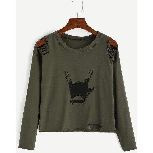SheIn(sheinside) Army Green Gesture Print Distressed T-shirt (210 HNL) ❤ liked on Polyvore featuring tops, t-shirts, shirts, blusas, sweaters, green, destroyed t shirt, green long sleeve shirt, green t shirt and long sleeve shirts