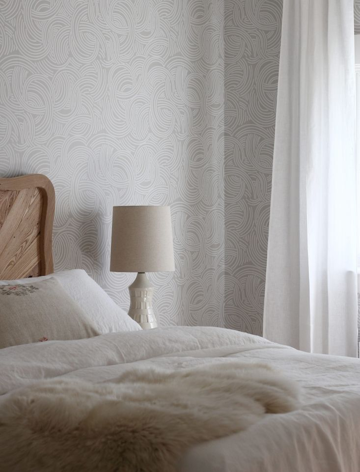 Wallpapered guest room designed by Jersey Ice Cream Co. in a Rockport, Maine, house.