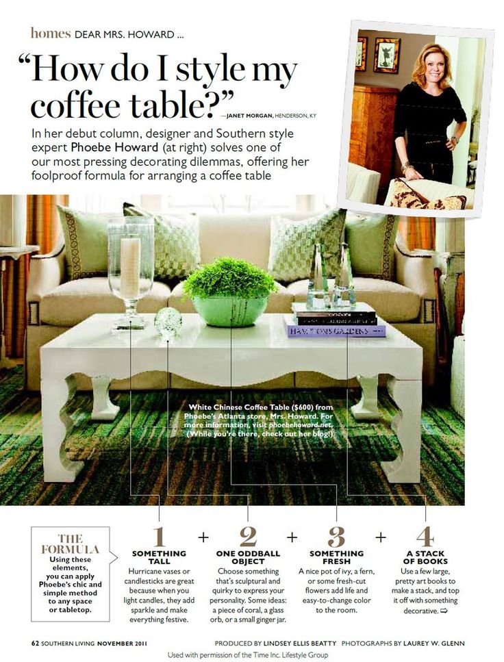 Phoebe in Southern Living styling a coffee table