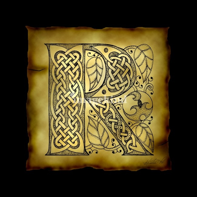"""Celtic Letter R"" by Kristen Fox"