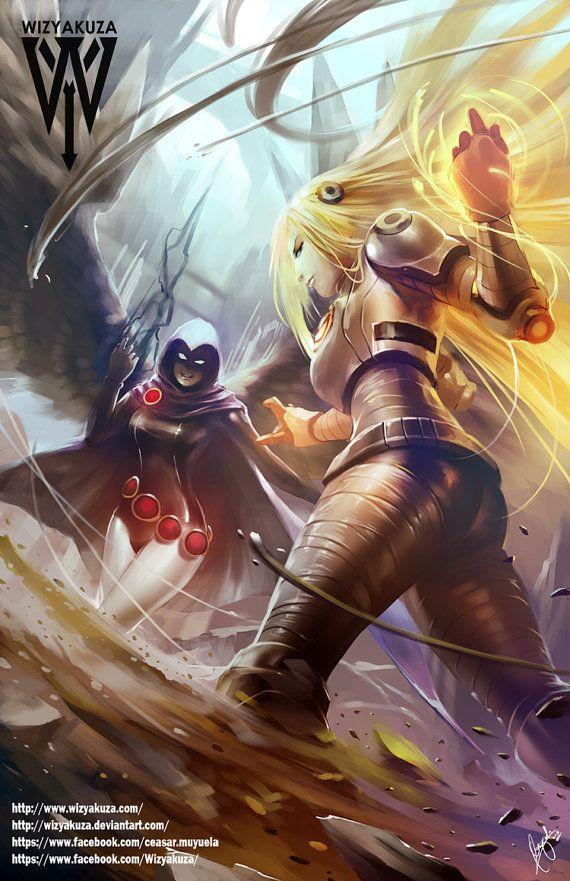Terra vs Raven - Teen Titans Cartoon Network - 11 x 17 Digital Print