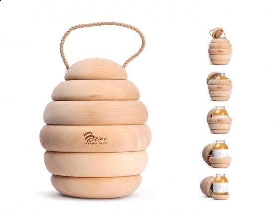 Bzzz Honey - Porta vasetti di miele a forma di alveare #packaging #design #pack #product #inspitation #honey #vase