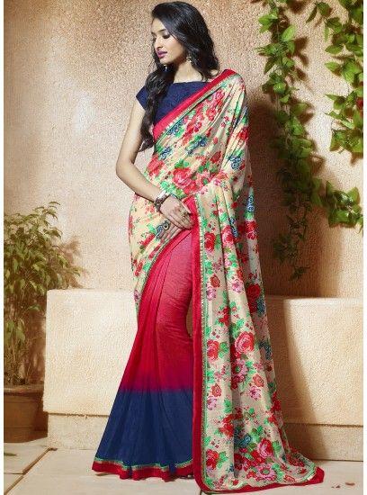 Fetching Banglore Silk Cream & Hot Pink Casual Printed Saree-606