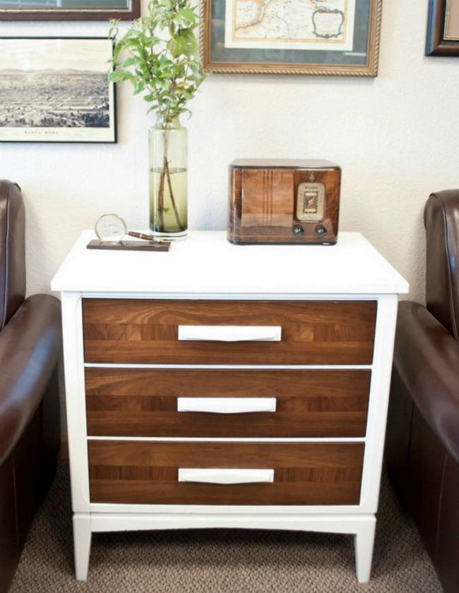 wood/white contrast end table