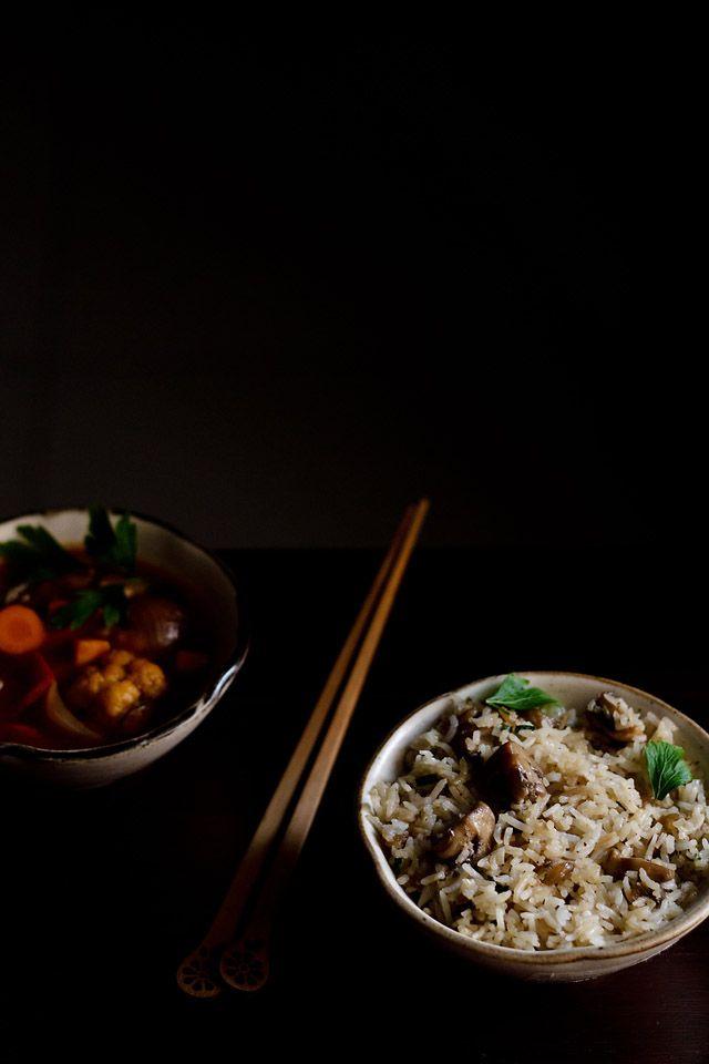 mushroom fried rice – indo chinese recipe - Veg Recipes of India