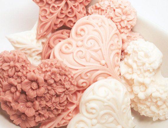 Valentine's Day Gift Soap - Vanilla Decorative Soap Vegan Soap Hostess Gift Set Heart Soap Flower.