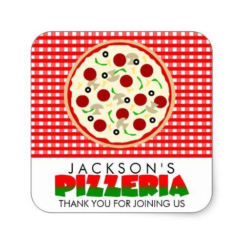 Pizzeria Pizza Party Favor Stickers