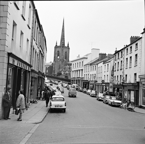 April 11, 1964: A street in Enniskillen, Co. Fermanagh pictured at 5.50 p.m.
