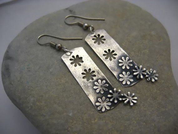 OOPS SALE Positive and Negitive Flower Fine Silver PMC Precious Metal Clay Earrings punch