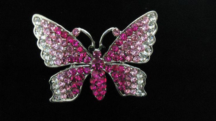 spilla farfalla strass rosa