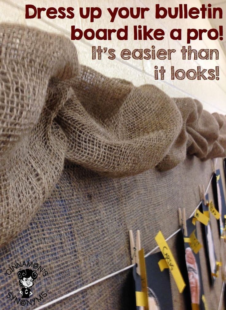 Burlap Bulletin Board. Reggio inspired, natural decor, easy to create!