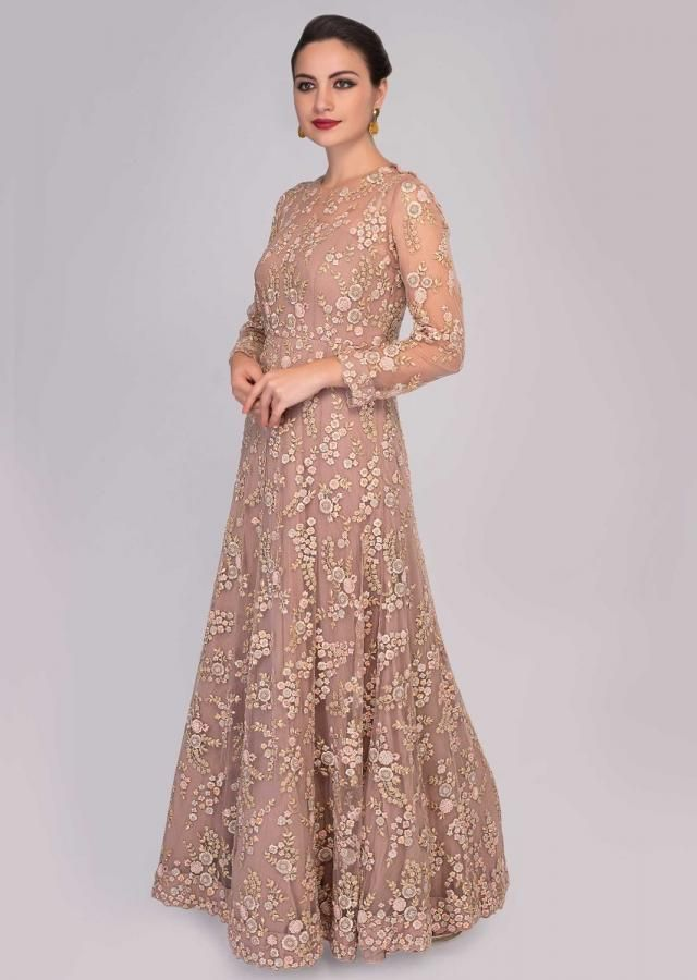 4a343e68 Caremel beige net anarkali gown embellished in jaal resham floral embroidery  only on Kalki