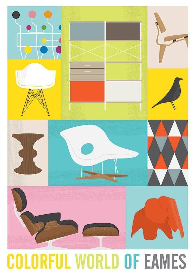 Een kleurrijke poster van Jan Skácelík met de tekst: Colorful world of eames. Hoe retro wil je het hebben! Deze poster heeft een afmeting va...