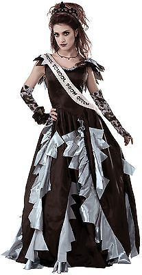 Women's Zombie Prom Queen Costume, Black/Gray, Standard Size