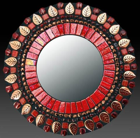 Red Leaf Mosaic Mirror by Zetamari Mosaic Artworks