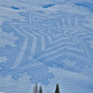 Since 2004 England-based Simon Beck has strapped on a pair of snowshoes and lumbered out into the the freshly fallen snow at the Les Arcs ski resort in France to trample out his distinctly geometric patterns, footprint by footprint. Each work takes the 54-year-old artist anywhere between 6 hours and two days to complete, an impressive physical feat aided from years of competitive orienteering.