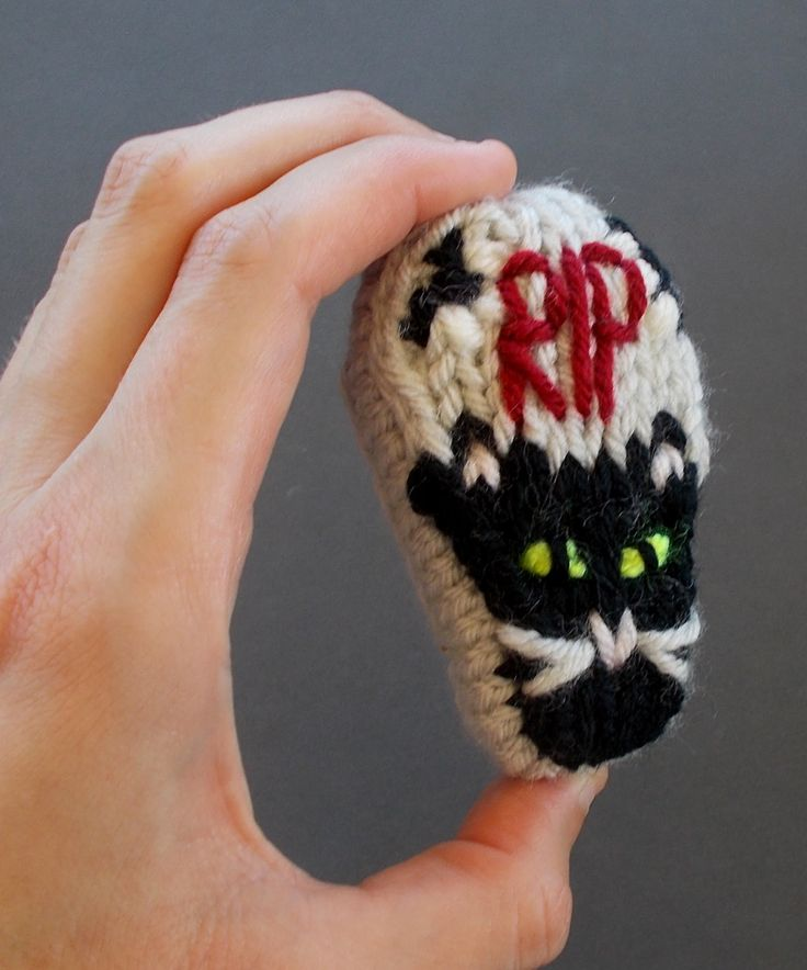 Miniature Decorative Coffin Knitted Ornament Black Cat Style - Unique Halloween Decor - Macabre Decor - Halloween Party Favor - Cat Ornament by DrFrankKnits on Etsy