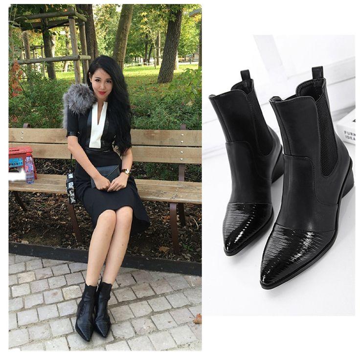 Ucuz Sonbahar Kadın Ayakkabı Pompaları 2016 Avrupa Kadınlar için Deri Sivri ayak bileği çizmeler Kısa Çizmeler Ayakkabı Bayanlar Moda Ayakkabılar Kadın Siyah, Satın Kalite kadın pompaları doğrudan Çin Tedarikçilerden:                                     BENIM mağaza hoşgeldiniz    sonbahar Kadın Ayakkabı Pompaları 2016 Avrupa Kadı